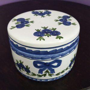 Vtg Blue/White Faience Pottery Powder Box Portugal